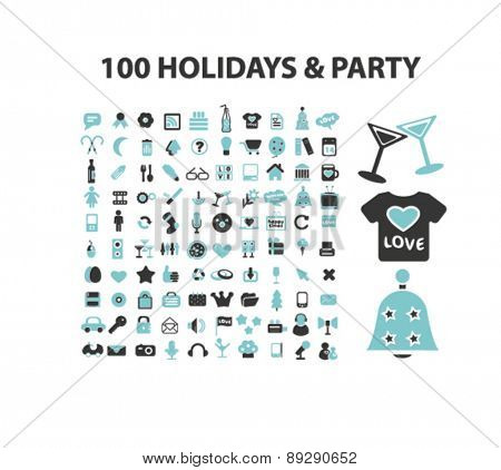 100 holidays, party, event, celebration isolated icons, signs, illustrations website, internet mobile design concept set, vector