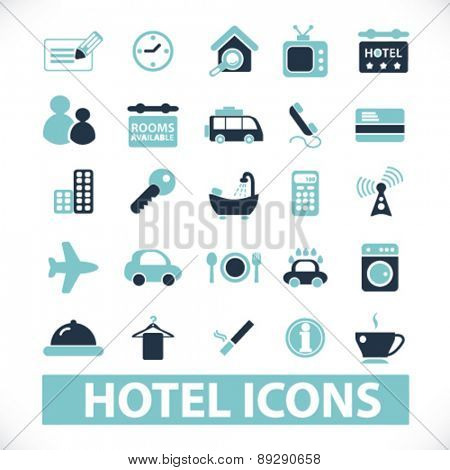 hotel, motel, room services isolated icons, signs, illustrations website, internet mobile design concept set, vector