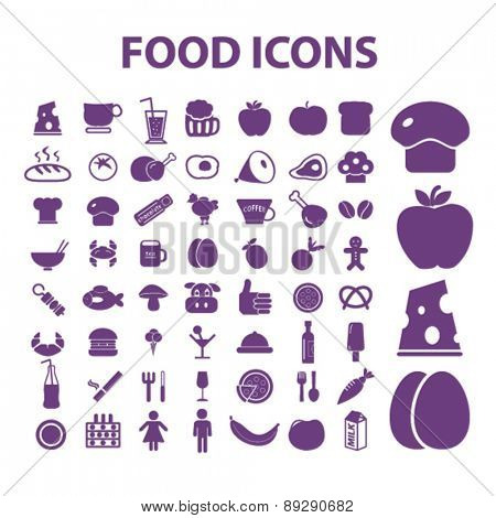 food, grocery, supermarket isolated icons, signs, illustrations website, internet mobile design concept set, vector