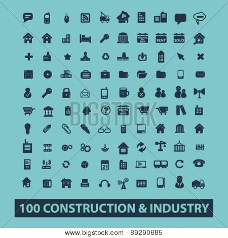 100 construction, industry, technology isolated icons, signs, illustrations website, internet mobile design concept set, vector