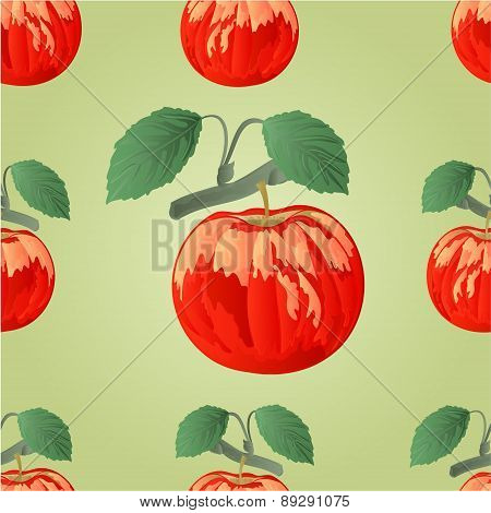 Seamless Texture Apple With Leaf Vector