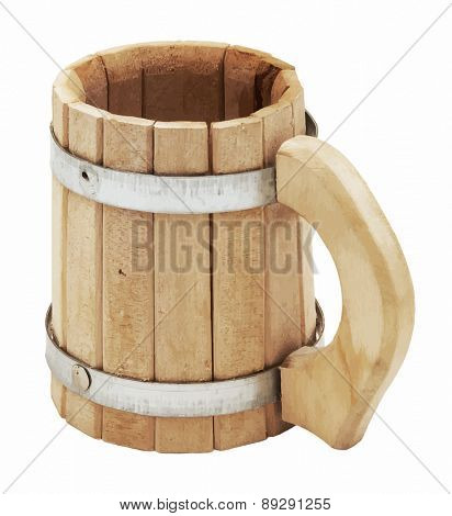 wooden beer mug, vector