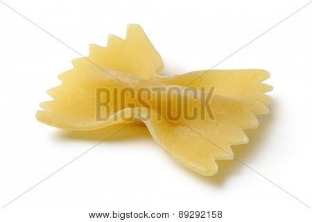 Piece of traditional Italian farfalle close up on white background
