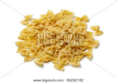 Heap of traditional Italian farfalle on white background