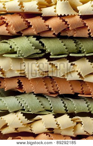 Traditional festive Italian Pasta tricocolore full frame