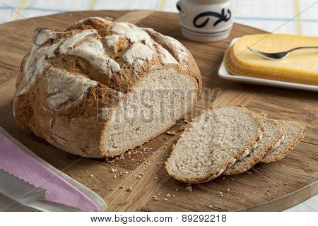 Traditional fresh german crust bread and slices