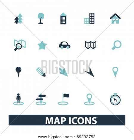 map, navigation, route isolated icons, signs, illustrations website, internet mobile design concept set, vector