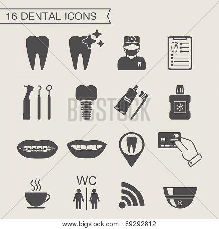 Dental Icons. Monochrome. Vector