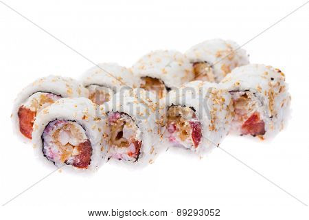Soft crab, prawn, tomato and cream cheese rolls isolated on white background
