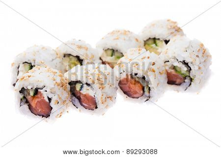 Salmon, cream cheese, cucumber and avocado rolls isolated on white background