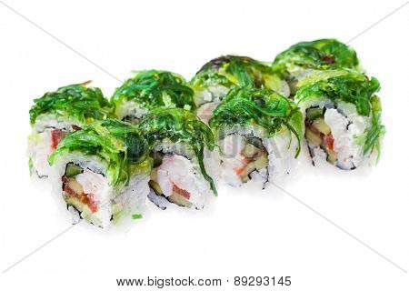 Soft crab, prawn, tomato, cream cheese and seaweed rolls isolated on white background