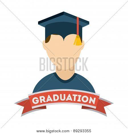 Graduation design over gray backgrorund vector illustration