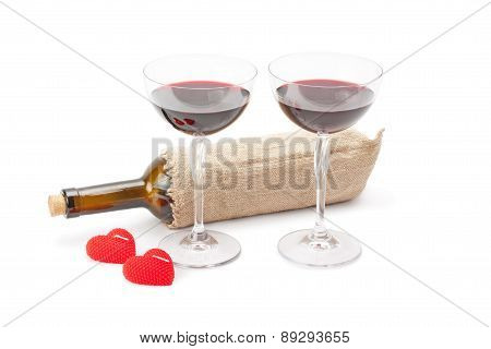 Candles ,bottle Of Wine And Glasses With Red Wine