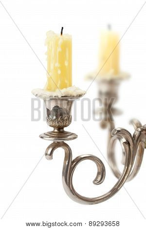 Old Candlestick With Candles