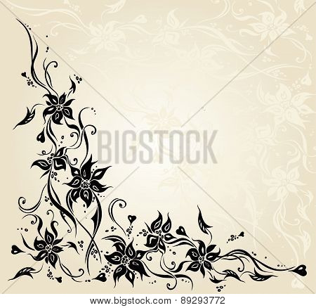 Ecru Vintage Floral Invitation Wedding Background Design.eps