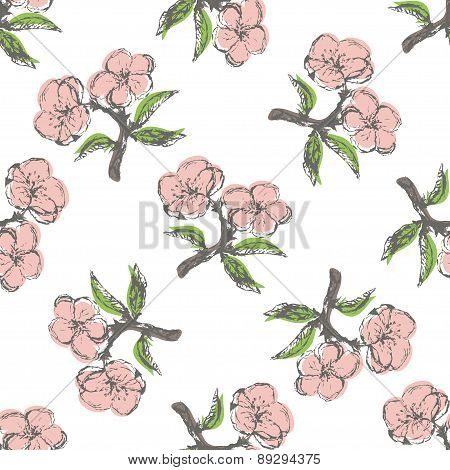 Seamless pattern with vintage apple twig