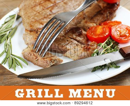 Delicious grilled meat on table with space for text