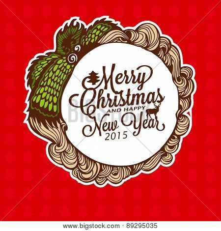 Christmas doodle wreath with gifts. Vector Illustration.