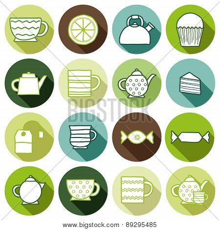 Set of hand drawn teatime icons