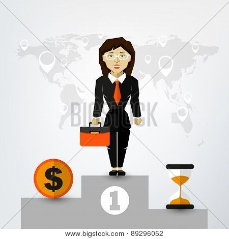 A Successful Woman in Suit on Pedestal