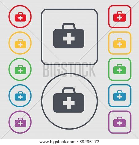 Medicine Chest Icon Sign. Symbol On The Round And Square Buttons With Frame. Vector