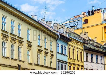 The old historical tenements at the Old Market Square in Cracow Poland ( Krakow Polska)