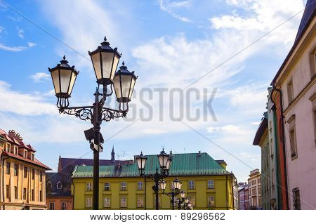 The old historical tenements at the Small Market Square in Cracow Poland ( Krakow Polska)