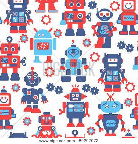 Robotrs Color Seamless Pattern