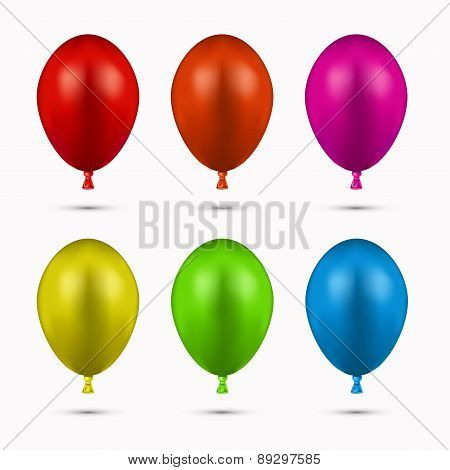 Vector modern balloons set on white