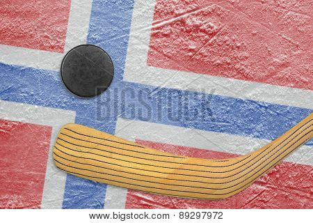 Hockey Puck, Hockey Stick And A Norwegian Flag