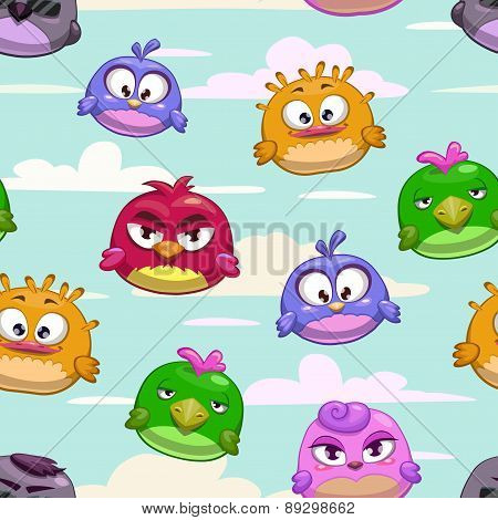 Pattern With Cartoon Funny Birds