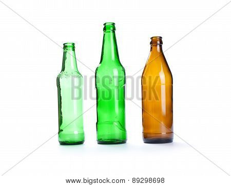 Empty  Beer Bottle Isolated On The White Background