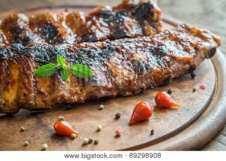 Grilled Pork Ribs  On The Wooden Board