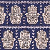 picture of hamsa  - Vector Indian hand drawn hamsa symbol seamless pattern - JPG