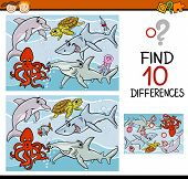 stock photo of brain teaser  - Cartoon Illustration of Finding Differences Educational Game for Preschool Children with Sea Life Animals - JPG