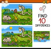 foto of brain teaser  - Cartoon Illustration of Finding Differences Educational Game for Preschool Children with Reptiles and Amphibians - JPG