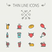 stock photo of chicken  - Food and drink thin line icon set for web and mobile - JPG
