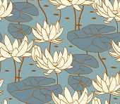 picture of lily  - Vintage water lily seamless pattern - JPG