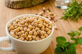 foto of legume  - Raw and healthy chickpeas Simple but delicious legume used in Middle Eastern cuisine - JPG