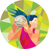 stock photo of netball  - Low polygon style illustration of a netball player catching rebounding ball looking to the side set inside circle - JPG