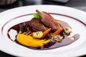 picture of roast duck  - Roasted duck fillet with carrot - JPG