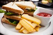 image of french fries  - Sandwich with fried eggs - JPG