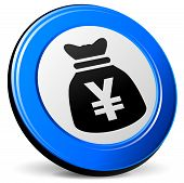 pic of yen  - illustration of yen bag 3d blue icon - JPG