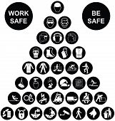 foto of manufacturing  - Black and white construction manufacturing and engineering health and safety related pyramid icon collection isolated on white background with work safe message - JPG