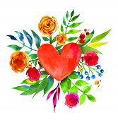 picture of love heart  - Vintage background with flowers in love and flower heart - JPG