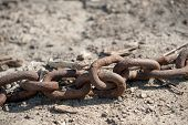 picture of barge  - A thick abandoned chain used for mooring barges or large ships lies on the shores of the mighty Mississippi River - JPG