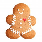 image of gingerbread man  - Gingerbread man cookie isolated on a white background - JPG