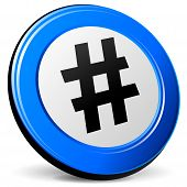 stock photo of hashtag  - illustration of hashtag 3d blue design icon - JPG