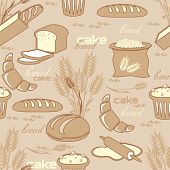 foto of bakeshop  - vector obsolete seamless pattern with image of breads pastries and cakes - JPG