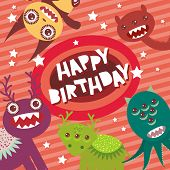 picture of monsters  - Happy birthday Funny monsters party card design on pink background with stars - JPG